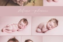 Pink newborn photo shoot collage